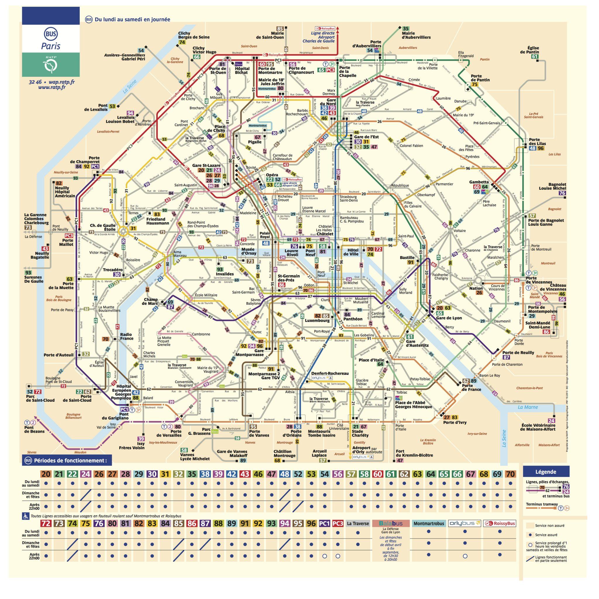 Схема маршрутов автобусов в Париже